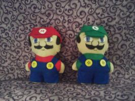 Mario and Luigi Mini Plushies by snowtigra
