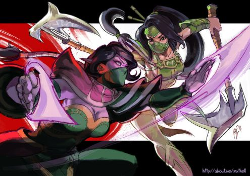 LOL vs. DOTA - Akali versus Lanaya by MarcelPerez