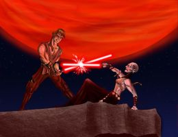 Skywalker VS Ventress by endemoniado