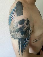 Skull and dots tattoo, graphic by Electronic-Sin