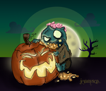 Lil Zombie eats Pumpkin Brains by ShermanTank13