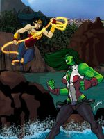 Wonder Woman v. She-Hulk by J-Onix