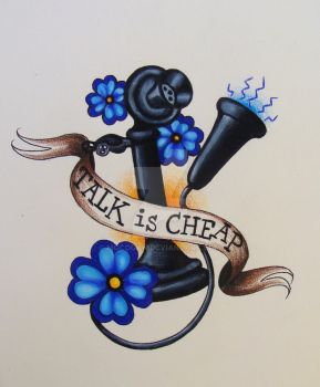 'talk is cheap' tattoo flash by mgcogan