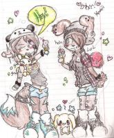 Art Trade .:Grace and Jess:. with bunnies lol XD by XxAlternative-Dreams