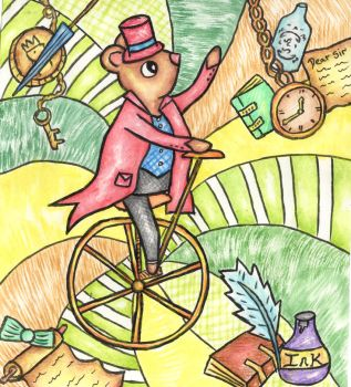 Mouse on penny farthing by twopixies