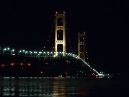 Mackinac Bridge Night View Beside Bridge by historicbridges
