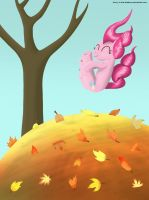 Pile of Leaves + Pinkie = Fun by brony-in-the-shadows