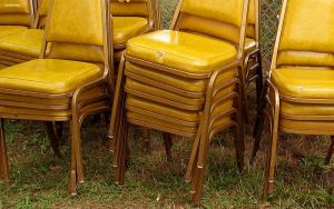 chairs on grass by modernist