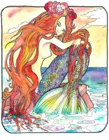 mermaid watercolor by jupiterjenny