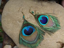 Peacock Feather Earrings by alchemymeg