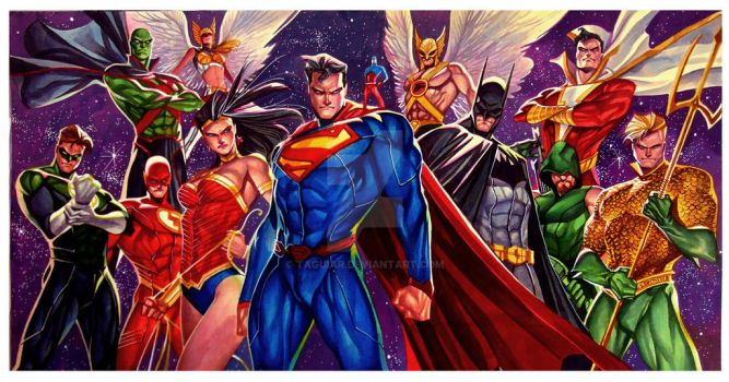 Justice League - Watercolor 20x30 - Commission by taguiar