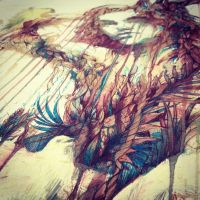 Detail from spring will come, ink and tea on paper by Carnegriff