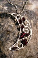 Garnet Moon Necklace by MoonLitCreations