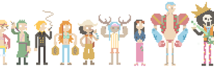 strawhats animated pixels by blubified