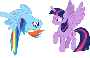 Vector #160 - Rainbow and Twilight by DashieSparkle