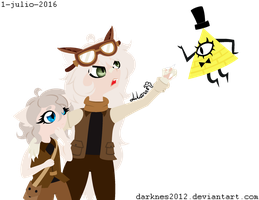 Two cats and Bill Cipher by Guajorite