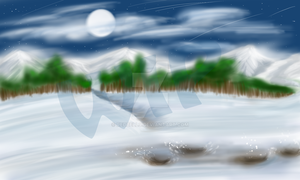 Snowy background WIP by Redbell9