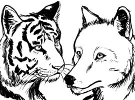 The Tiger and the Wolf- Kirazi by purrioso