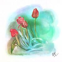 Tulips: Digital Watercolour by David-c2011
