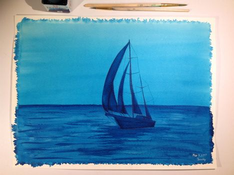 Blue Sailboat  by SandHourglass