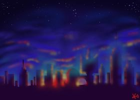 Megakitty Skyline by TheButterfly