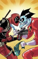 Deadpool v/s Freakazoid by nandop