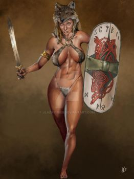 Germanic Barbarian Woman by JLazarusEB