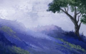 Blue Fields - Speedpaint by Olooriel