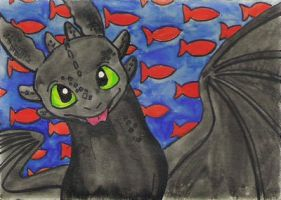 Toothless ATC. Painted by Skylanth