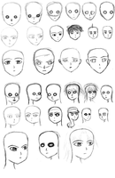 Day 4 - Head shapes + Facial features positioning by HarryKayan