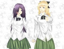 Katawa shoujo:Hanako and lilly by MiiAki