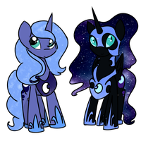 Nightmare Moon and Luna Chibis by Lunar-March