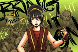 ATLA: Toph Bend Ball Fight by kirui
