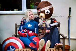 Captain America and Kuma - Chillin' by SketchMcDraw