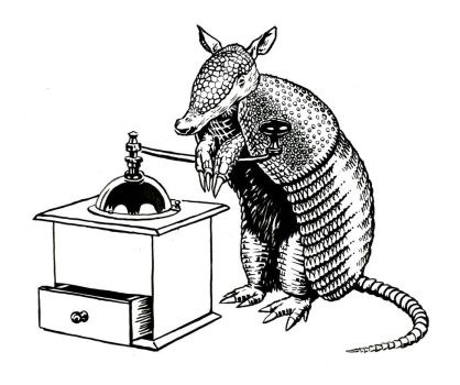 Armadillo and Coffee Grinder by mlauritano