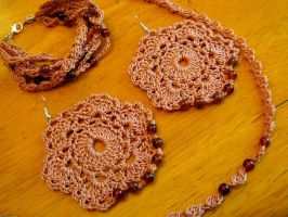 3 Piece Crochet Necklace, Bracelet, Earring Set by doilydeas