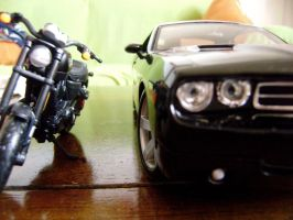 dodge challenger and harley davidson xr1200x scale by EnriqueGomez