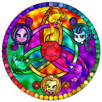 The Dazzlings Stained Glass Window by Earthstar01
