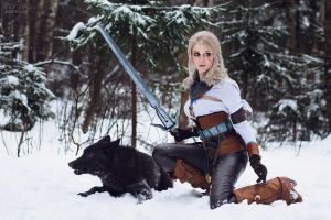 Ciri and Black Wolf by ver1sa