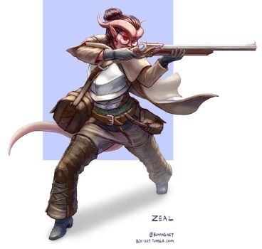 Zeal, Tiefling Artificer Gunsmith by bchart