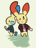 Plusle and Minun by scratchycandy