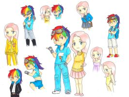 some human fluttershy and rainbowdash sketches by amaerise