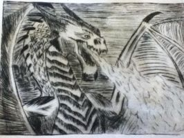 Fire breathing dragon etching by dwiindovah