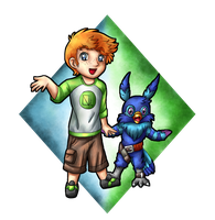 Chibi scott and Polvemon by Lord-Evell
