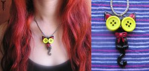 Button-Eyed Kitten Pendant by TrollGirl