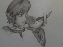 Starting of Twilight Princess Midna and Link by northernlightsky