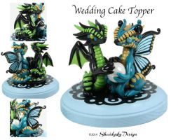 Butterfly Dragon with Egg Wedding Cake Topper by ShaidySkyDesign