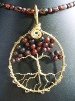 Brecciated Jasper Round Leaves With Brass Bark by BacktoEarthCreations