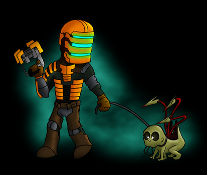 Isaac Clarke with Dead Pet by RiZo666