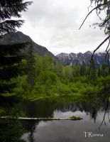 Pond and White Mountains by TRunna